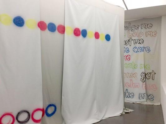 Sonic Banner, 50 qm und 20 qm, beide mehrlagig und mit Mehrlänge, akustisch ausgestattes Material, für die Künstlergruppe Discoteca Flaming Star , KUBUS Stuttgart, 2015